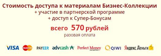 Бизнес коллекция, 570 руб разовая оплата